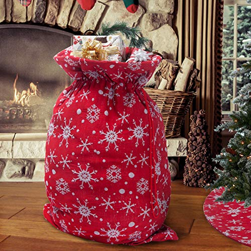 S-DEAL Santa Sack with Drawstring 20x27 Inch Gift Wrap Bag Claus Xmas Presents Storage for Christmas Decoration Red and White Snow