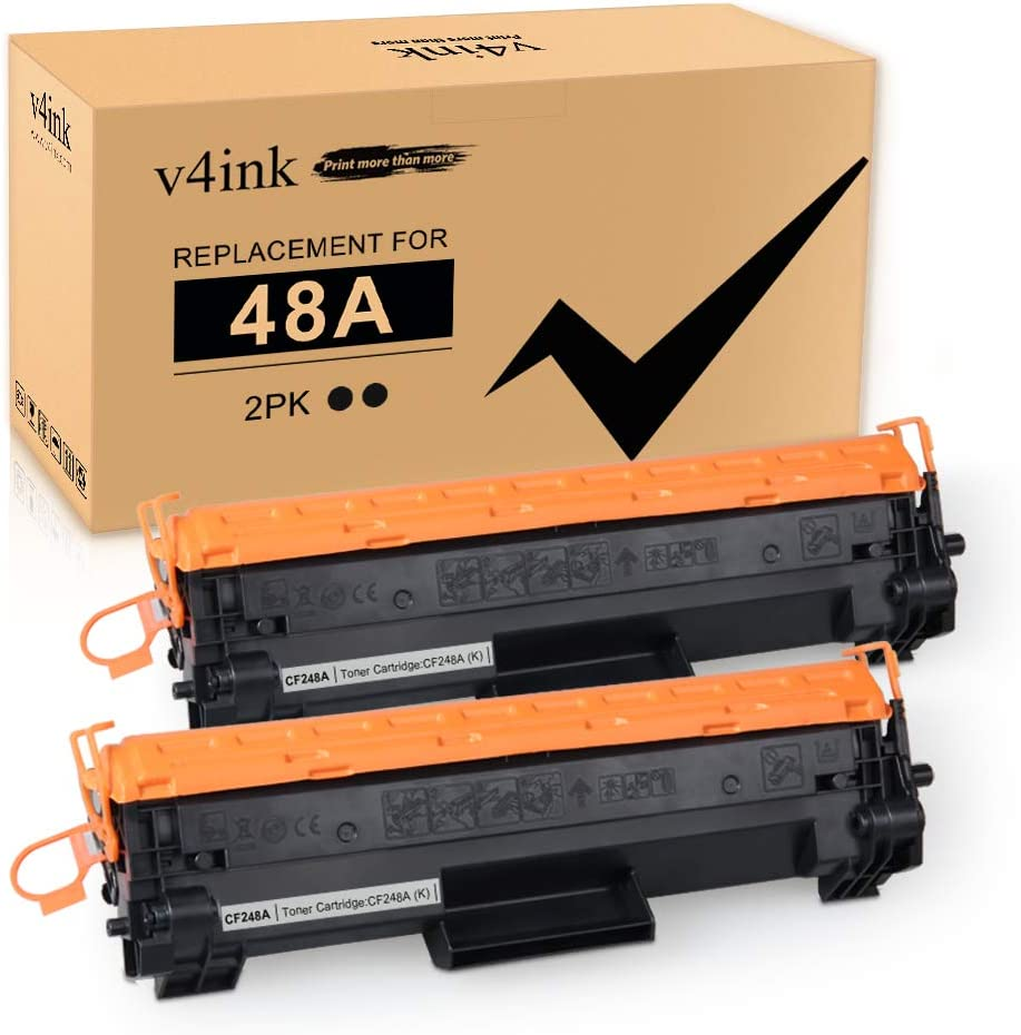 [New Chip] V4INK Compatible 48A Toner Cartridge Replacement for HP 48A CF248A for use in HP Laserjet Pro M15w M15a M16w M16a MFP M29w M29a M28w M28a Printer (2 Packs Black)