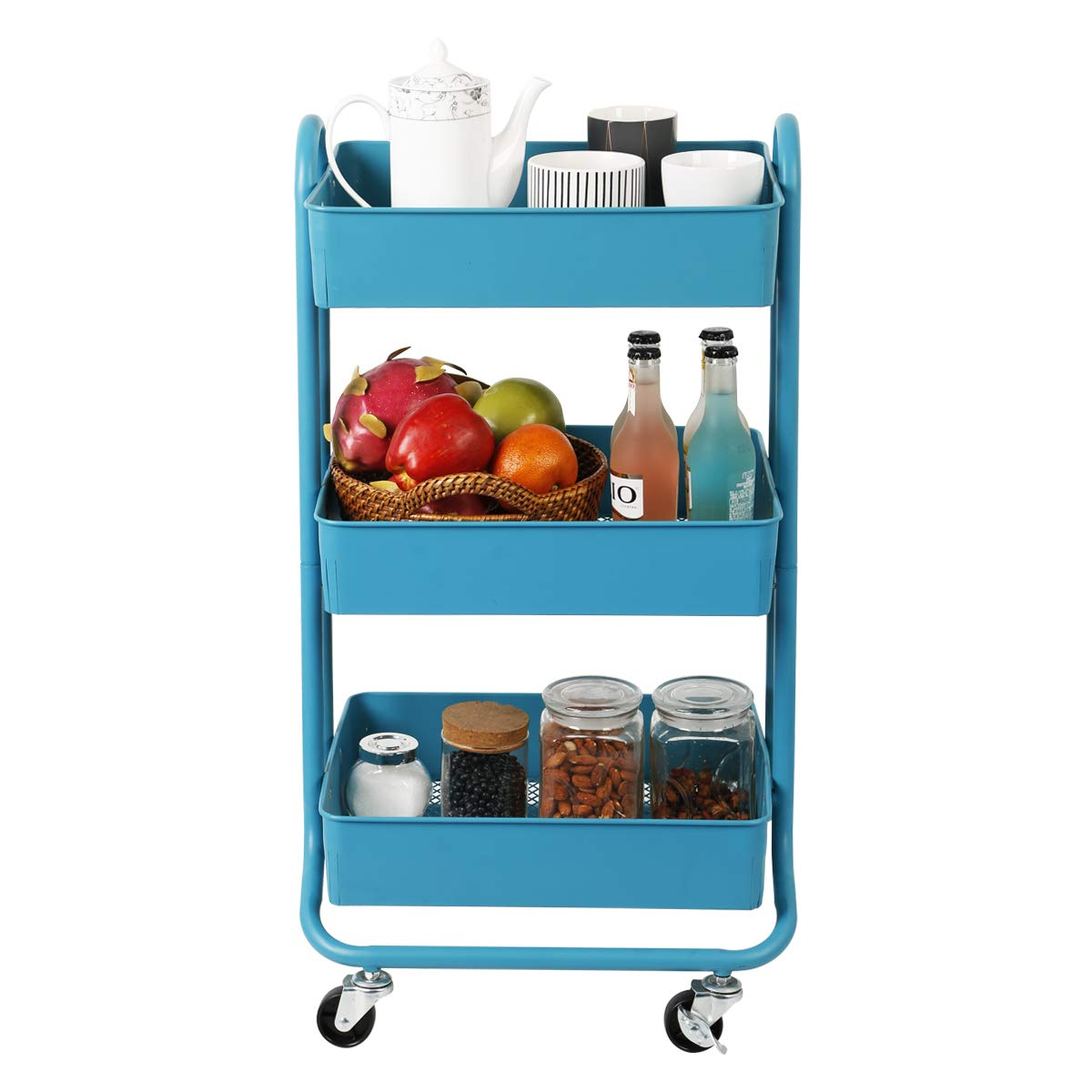 DESIGNA Metal Rolling Storage Cart 3 Tiers Utility Mobile Organization Cart with Handles Suitable for Office Home Kitchen or Outdoor, Turquoise by DESIGNA