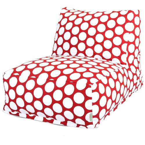Majestic Home Goods Red Hot Large Polka Dot Bean Bag Chair Lounger Bean Bag Red Twill