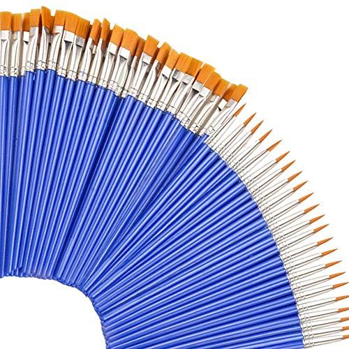 50 Pcs Flat Paint Brushes for Kids/Students/Starter/Teens/Children , Paint Brush Set for Art Class Painting/Painting…