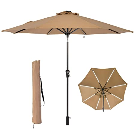 LCH 9 ft Outdoor Umbrella Patio Table Umbrella Yard Sturdy Pole Push Button Easily Tilt Crank, Beige