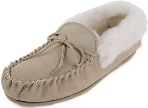 Ladies Lambswool Moccasin Slippers with