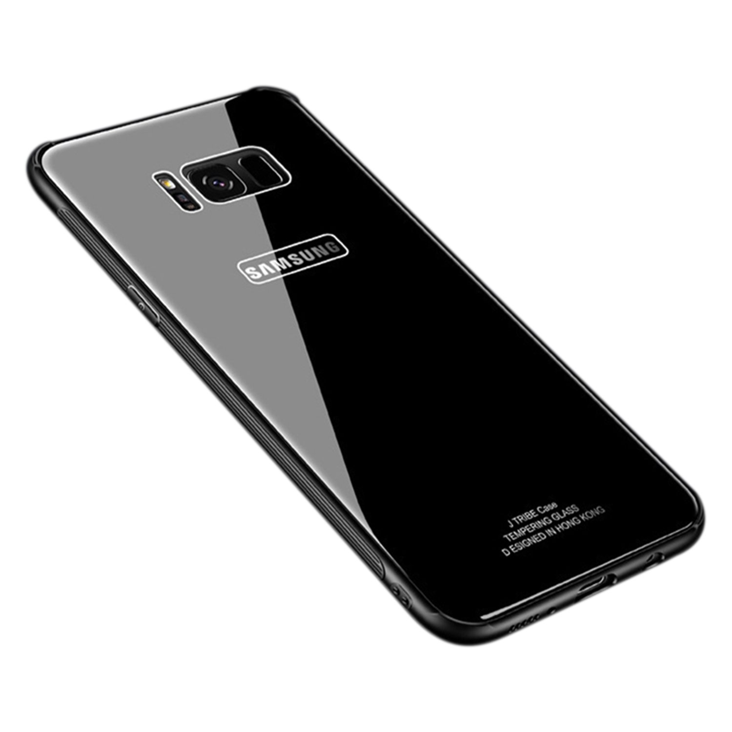 Ldea Galaxy S8 Case, Silicone Shockproof Tempered Glass Back Cover Shell (Black)