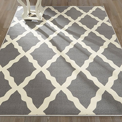 Ottomanson Glamour Collection Contemporary Moroccan Trellis Design Kids (Machine-Washable/Non-Slip) Kitchen and Bathroom Mat Rug, 3'3