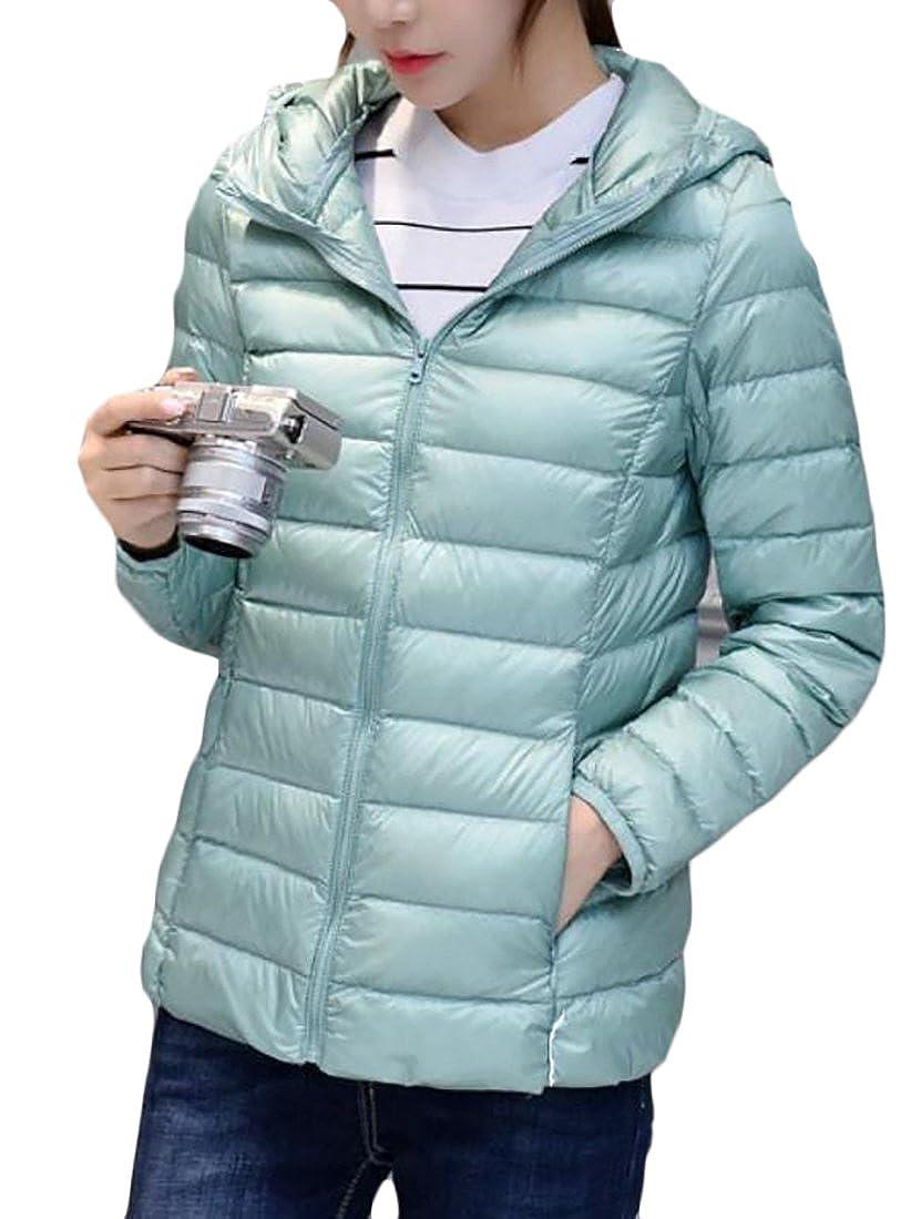 Fulok Womens Lightweight Packable Hooded Down Jacket Outwear Puffer Coat