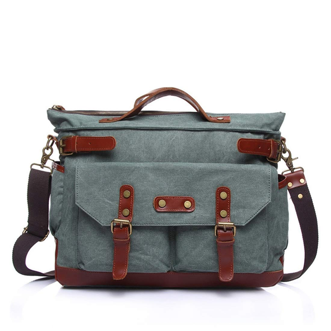 Color : Coral Cyan Carriemeow Simple Retro Zipper Briefcase Bag Canvas Shoulder Bag Messenger Bag Color:Brown