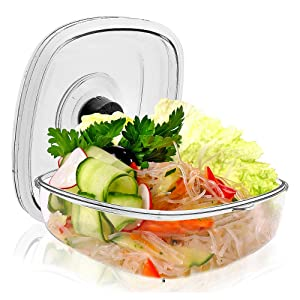 Air Vacuum Seal Food Container - 2 Liter Capacity Kitchen Reusable Airtight Food Saver Sealer Storage Box Canister for Meal Prep, Lunch, Bread, Cereal, Keeps Food Fresh and Tasty - NutriChef PKVSCN2L
