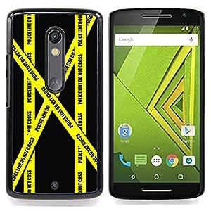- Don'T Go Police Tape Crime Scene Yellow - Caja del tel????fono delgado Guardia Armor- For Motorola Verizon DROID MAXX 2 / Moto X Play Devil Case