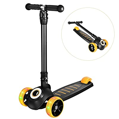 Greentest Scooter Foldable Adjustable Height Easy Turning 3 Wheel Scooter Kids Boys Girls Flashing PU Wheels : Sports & Outdoors