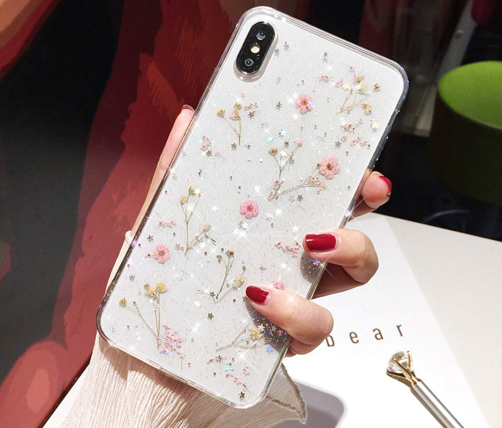 Bling Case for iPhone Xs Max Flower Case,Girls Women Sparkly Shiny Glitter Bling Crystal Clear Soft Flexible Rubber Gel TPU Pressed Dry Real Flowers Case Floral Cover for iPhone Xs Max Case,Pink by ikasus