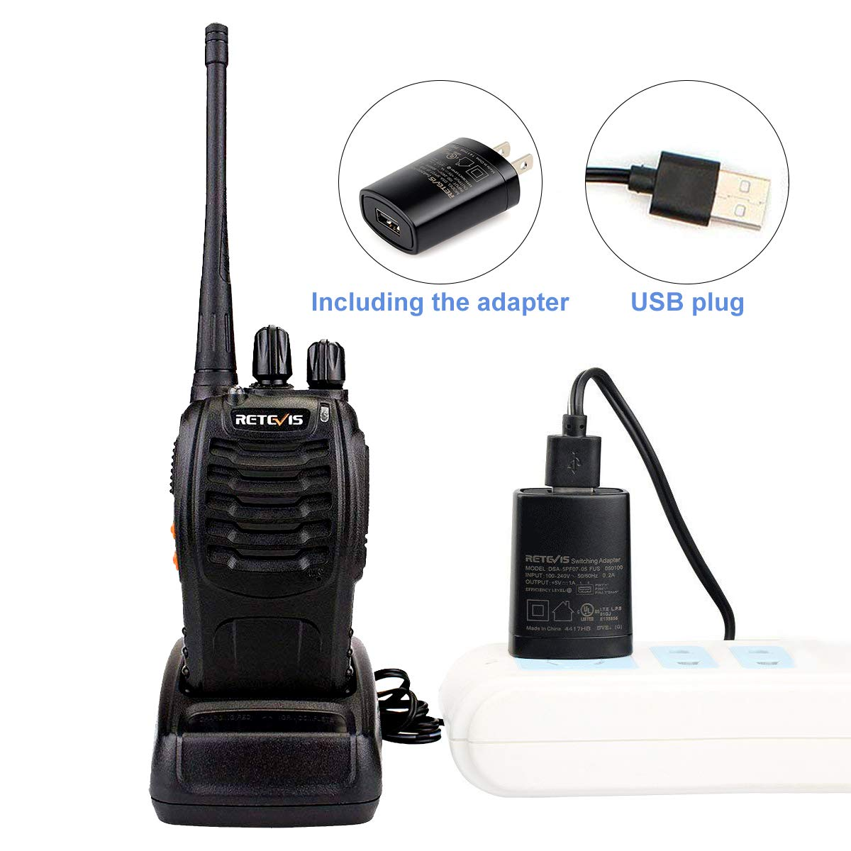 Retevis H-777 2 Way Radios UHF Long Range 16CH Emergency Portable Walkie Talkies Set 20 Pack with USB Charging Base