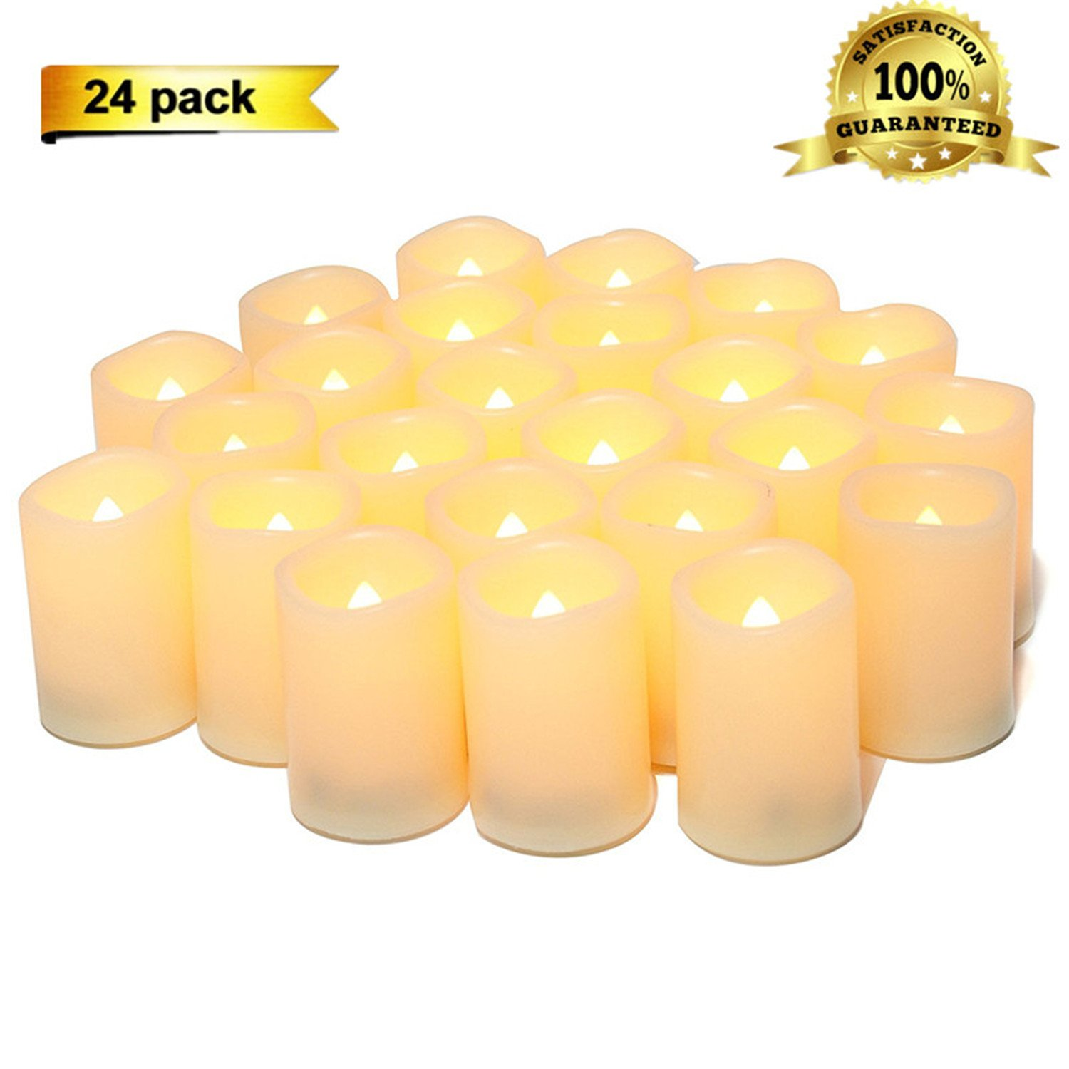 Sweethug Flameless Candles LED Flickering Votive Candles Battery Operated Unscented Candles, 120+ Hours, Set of 24, Perfect for Birthday Wedding Party,Home Decor, Festival Decorations