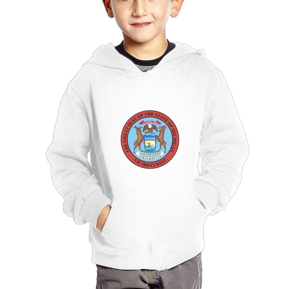 JIANGSHAN Seal of Michigan Fashion Hooded Pocket Sweater for Children Spring//Autumn//Winter Outfit Long-Sleeved Hoodie