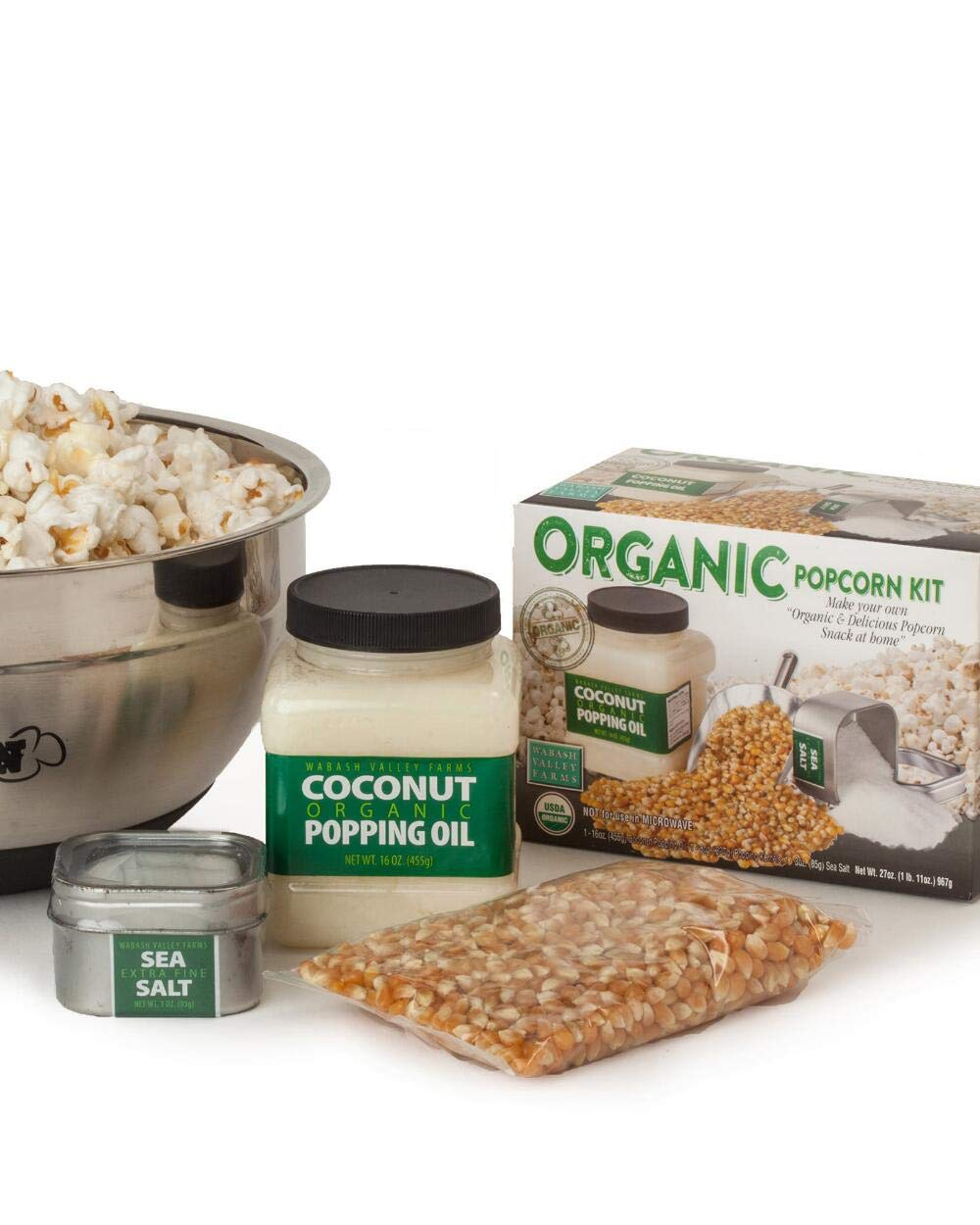 Organic Popping Set and Stainless Steel Bowl! Serving Bowl, Organic Coconut Oil, Organic Yellow Kernels And Fine Sea Salt! Non-Gmo, Gluten Free & 100% Whole Grain! Tasty Delicious Healthy Snack! by WVF (Image #1)