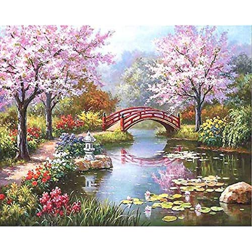 Qenci DIY Oil Painting Paint by Number Kit Unframed Painting Print Picture Home Wall Art Decor (Cherry Blossom Road) (Painting Blossom)