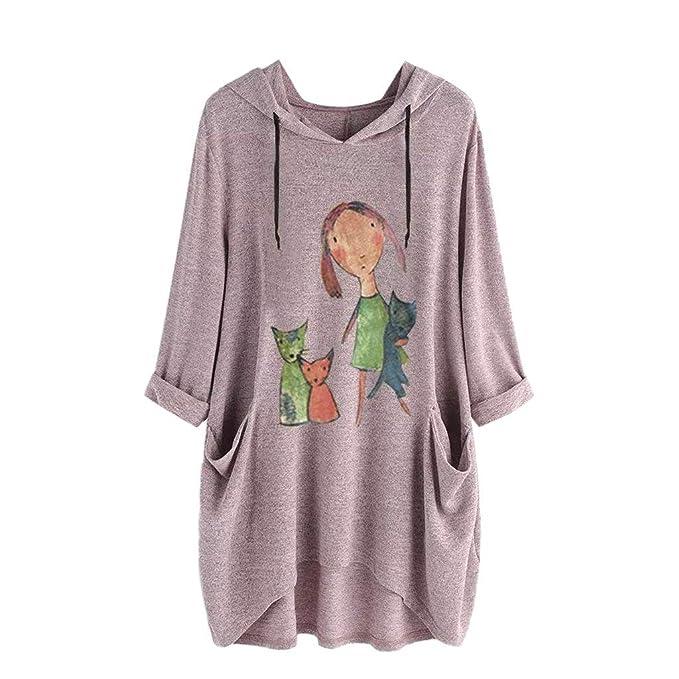 Camiseta con Estampado de Oreja de Gato con Capucha para Mujer S-5XL Tops Mujer
