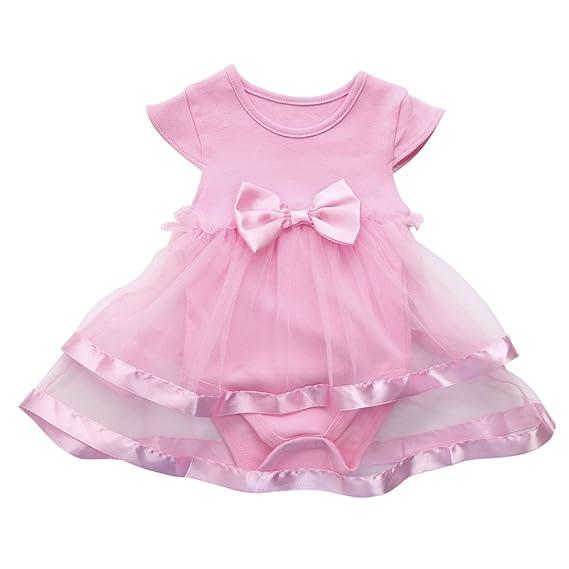 cdccfa1a79aa2 BYSTE Body Bambino Ragazze abito Neonato senza maniche Bowknot stampa  Vestito da principessa TUTU Romper pagliaccetto