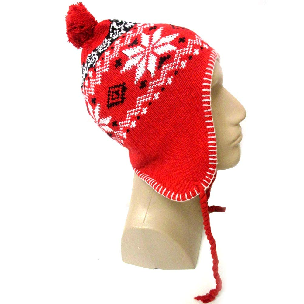 a41b103af51a3 Amazon.com   1 Peruvian Winter Ear Flap Muff Ski Hat Skully Beanie Cap Snow  Women Red Black   Sports   Outdoors