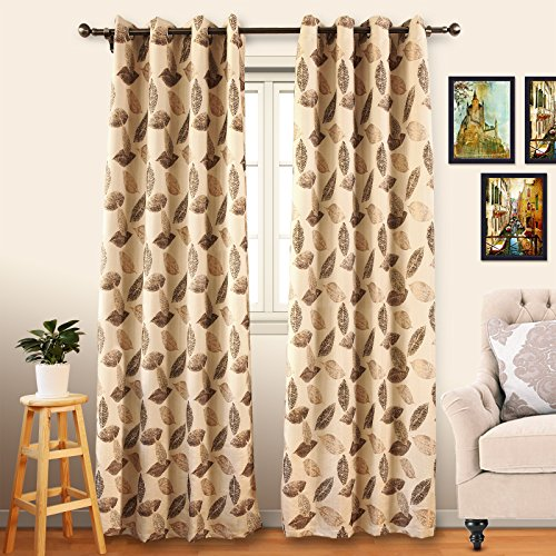 Eamior Room Darkening Panels for Window Faux Linen Triple Weave Thermal Insulated Ring Top Drapeies for Kitchen (2 Panels, 52 Inch Wide by 63 Inch Long, Brown Falling Leaf Print) (Hall Floral Print)