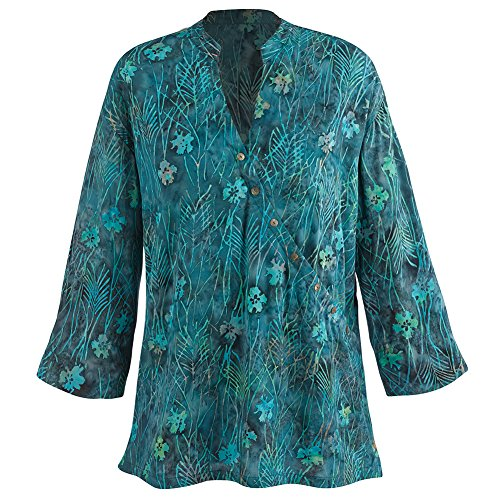 Women's Tunic Top - Asian Inspired Wrap Blouse Hand Batiked - Blue - 2X