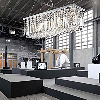 Modern Clear Crystal Chandelier Lighting Rectangular Pendant L& with 5 Lights for Living Room Dining Room & Modern Clear Crystal Chandelier Lighting Rectangular Pendant Lamp ... azcodes.com