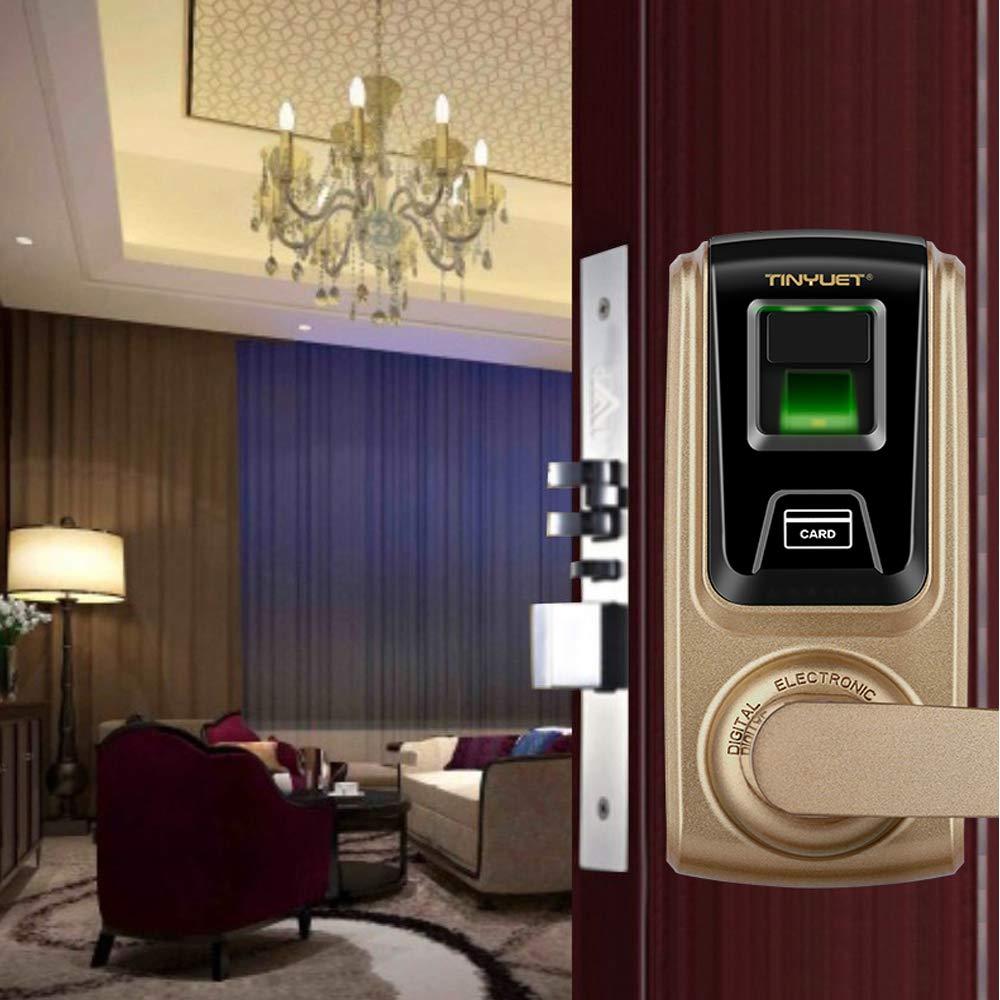TINYUET Smart Door Lock Deadbolt Electronic Lock Deadbolt with Built in Alarm Smart Door Locks for Homes Digital Door Lock for Office CC-SL018