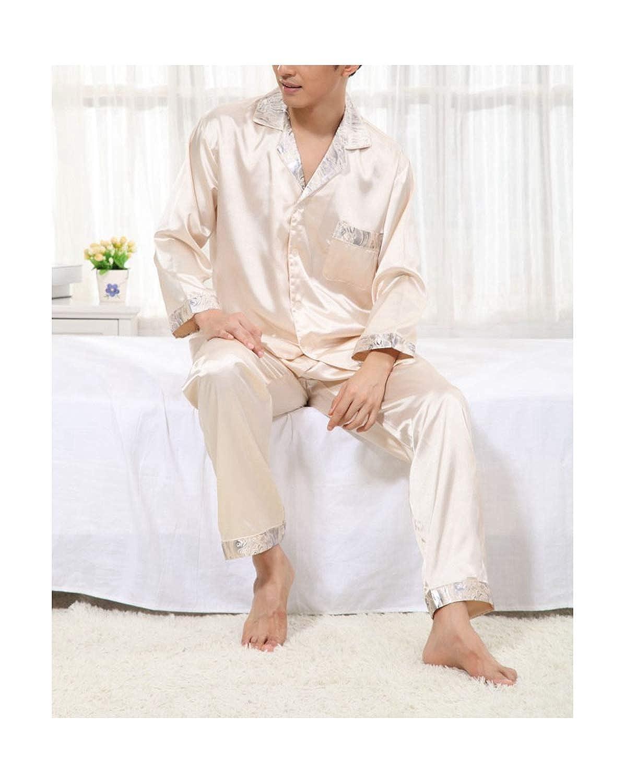 Phillip Dudley Couple Silk Satin Pajamas Men Nightwears Faux Silk Pajamas Satin Silk Sleepwear