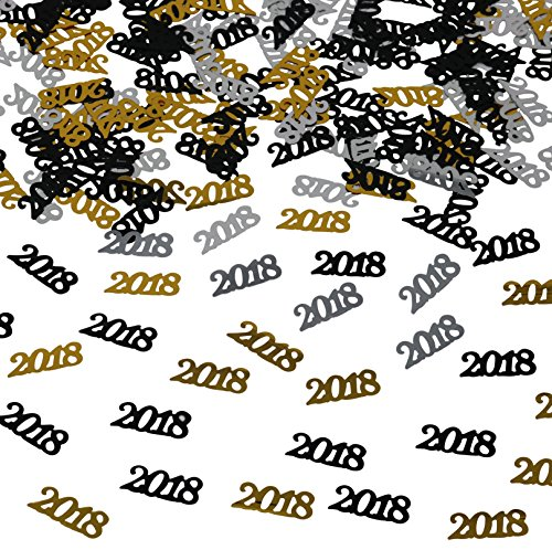 2018 Confetti | Pack of 1000, 1.5 Oz - Graduation Party Supplies, Anniversary, Birthday and Variety of Events | Great for Table Decorations | Graduations Decorations 2018 | Gold Black Silver
