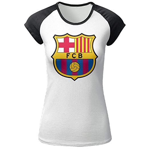 74a28ae4b Amazon.com  Women s Fc Barcelona Soccer Club Shirt Casual Short Sleeve  O-Neck Cotton Summer Sport T-Shirt Tops and Blouses for Teens  Clothing