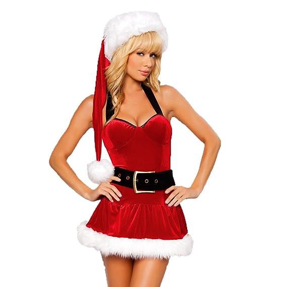 VENMO Navidad Moda Mujer Atractivo Lencería Muselina Ropa Interior Tentación Spice Mini Falda