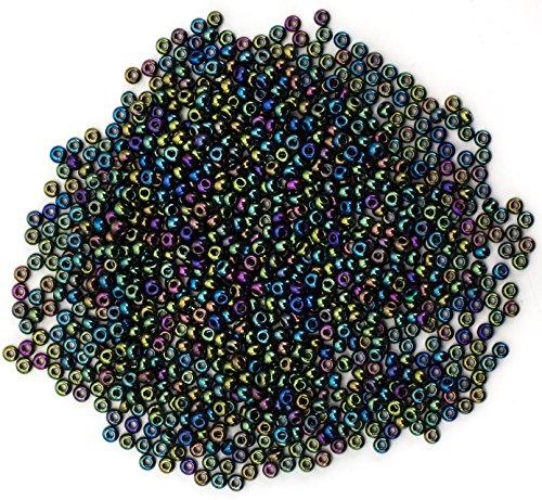 Cousin Czech Glass Beads, 11/0 Iridescent Green Iris Seed Beads, 10 -