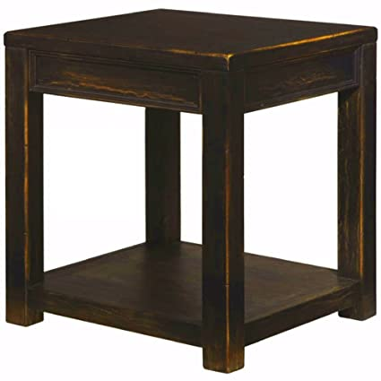Amazon black rustic end table with shelf large square wooden black rustic end table with shelf large square wooden farmhouse couch sofa armchair side table for watchthetrailerfo