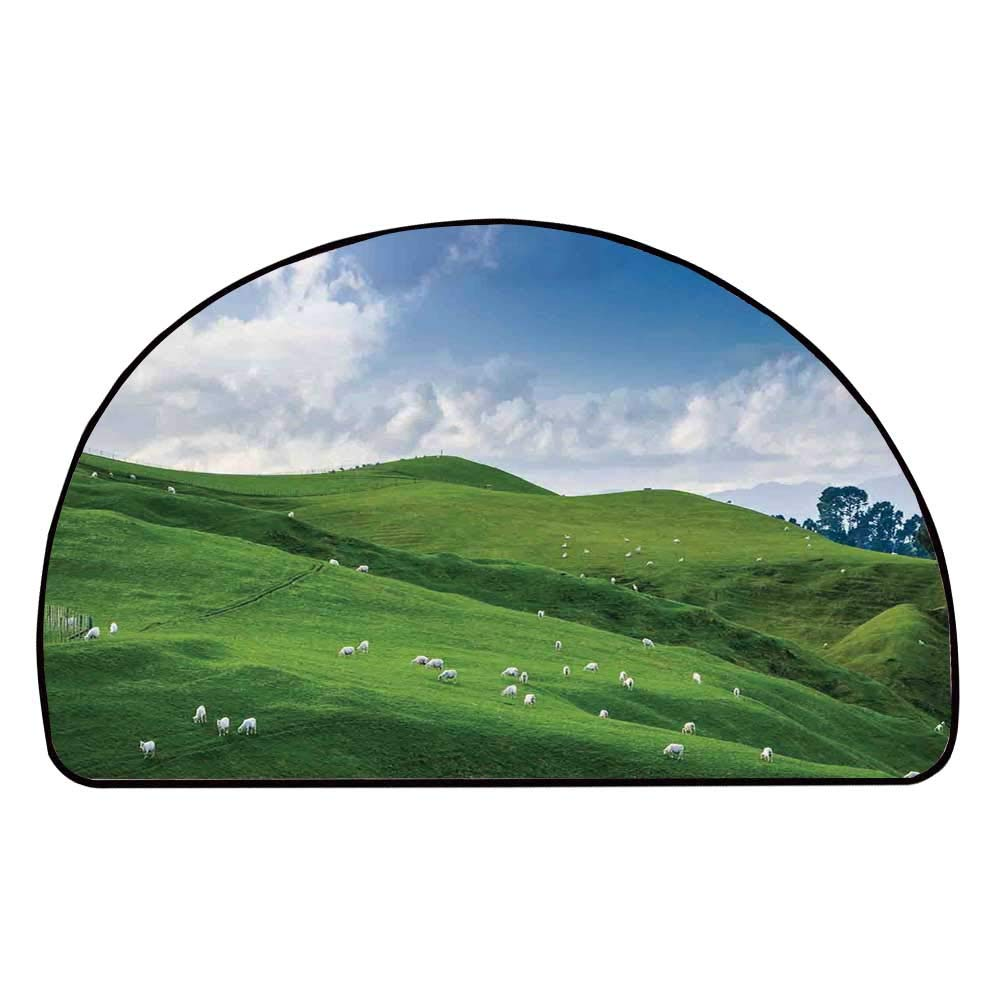 C COABALLA Farm House Decor Comfortable Semicircle Mat,Sheep Under Blue Sky Trees Grassland Highland Nature Landscape Scenery Picture for Living Room,11.8'' H x 23.6'' L