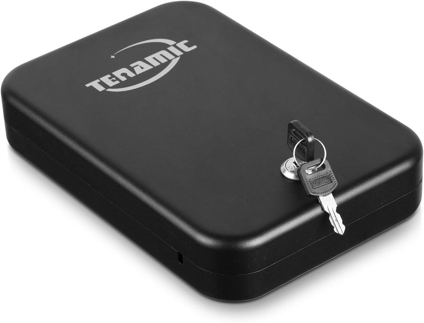 Tenamic Pistol Safe, Portable Travel Gun Safe, Solid Steel Handgun Lock Box for Home, Gun Safes for Car, Black