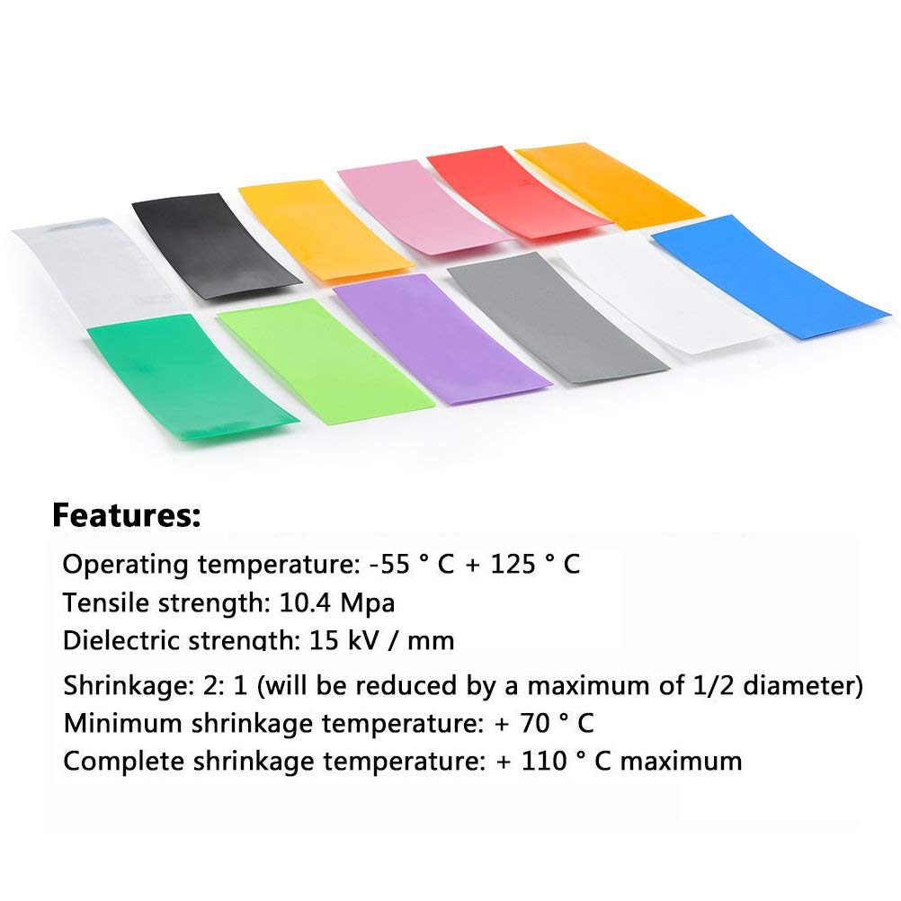 240PCS Pre-Cut 18650 Battery Wraps 29.5mm Plat en PVC batterie de la chaleur Gaine thermor/étractable Wrap 12 couleurs 240 pi/èces pour 18650 18500 Batterie