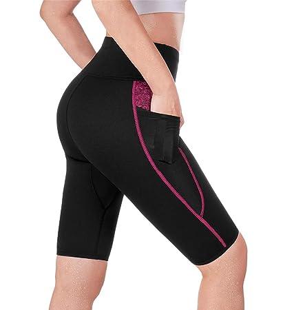 9036cffd057662 TrainingGirl High Waist Sauna Sweat Shorts Weight Loss Workout Pants with  Pocket for Women Running Gym