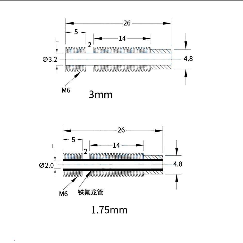 Elegantstunning Accessoires pour imprimante 3d E3D V6/Hot End de tous les tuyaux de m/étal Acier inoxydable Chemin/ée de remplissage 1.75/mm//3/mm 3mm built-in tube