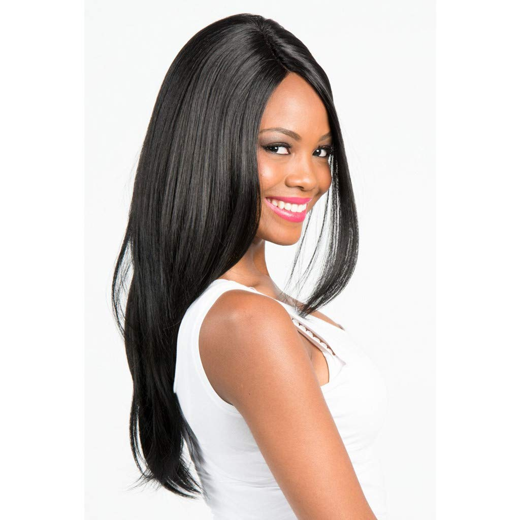 DDLmax Black Middle Part Long Straight Synthetic Daily Party Cosplay Halloween Costume Wigs for Women by DDLmax