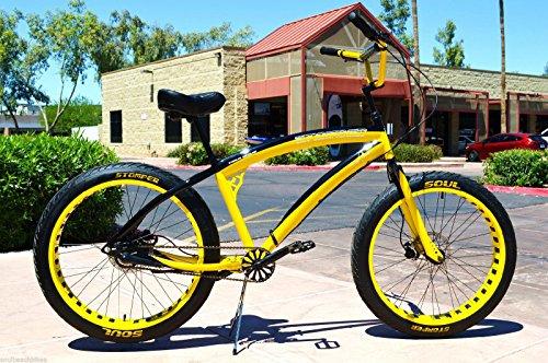 26x4 Fat Tire Beach Cruiser Bike - SOUL STOMPER - 3 speed - Yellow / Black NEW!!