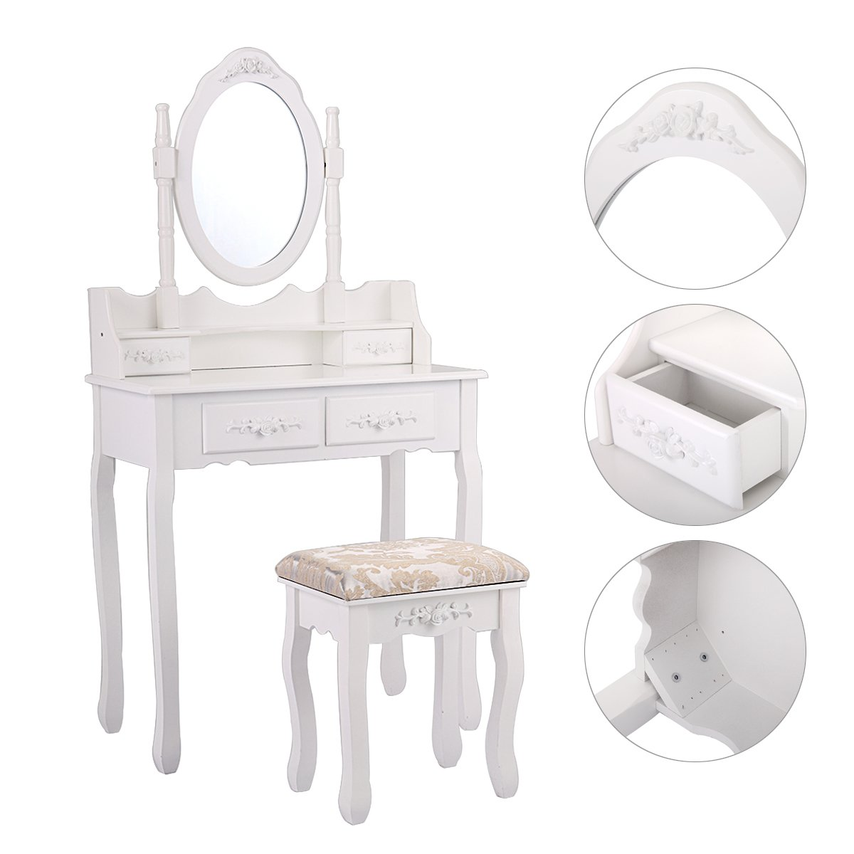 JAXPETY 4 Drawers Classic Vanity Table Set with Mirror and Cushioned Stool Makeup Dressing Table Organizer Bedroom, White
