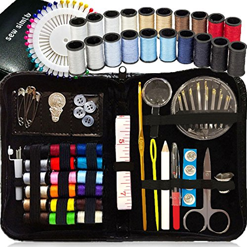 : SEWING KIT, Over 120 Premium Sewing Supplies, 38 Spools of Thread - 20 Most Useful Colors of Threads & 18 Multi Colors, Extra 40 quality sewing pins - Mini Travel sewing kit, for Beginners, Emergency