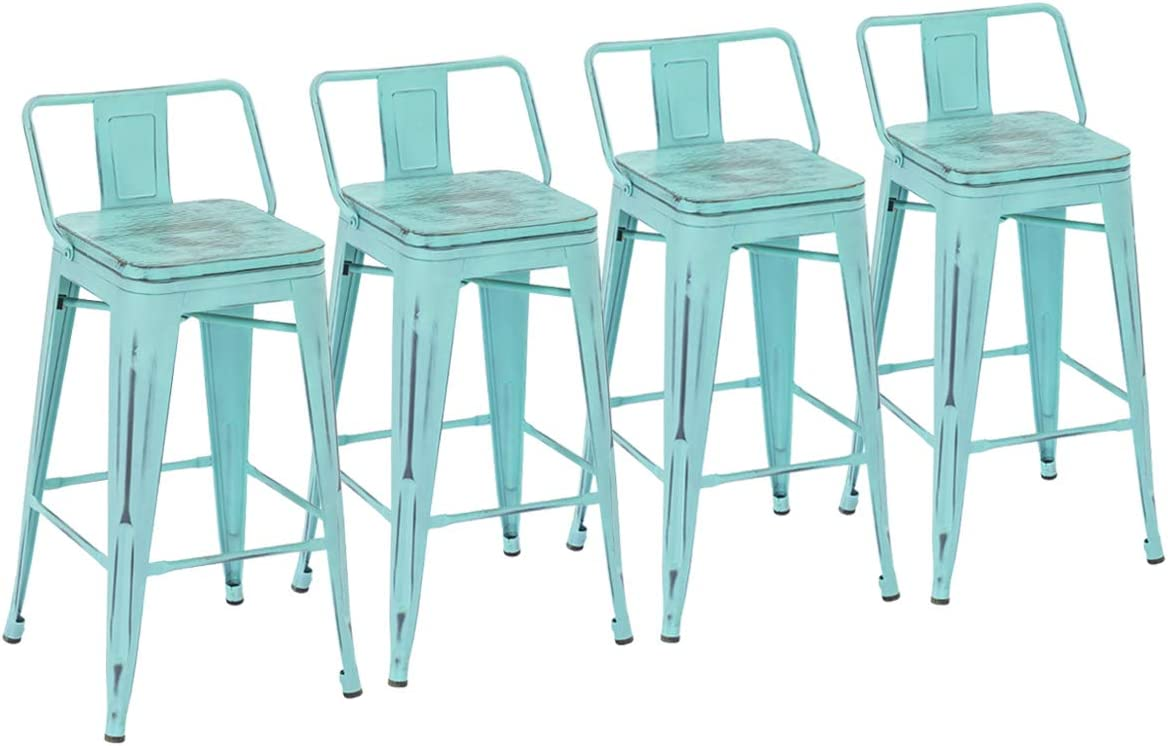 Yongchuang Metal Bar Stools with Back 30 Seat Height Counter Height Barstools Set of 4 Wooden Top Low Back, Distressed Mint