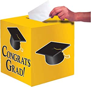 Creative Converting Congrats Grad Card Holder Box, School Bus Yellow - 083315