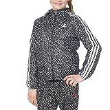 Adidas YWF Junior Girls Hooded Jacket Black/White/Grey s96018 (Size S)