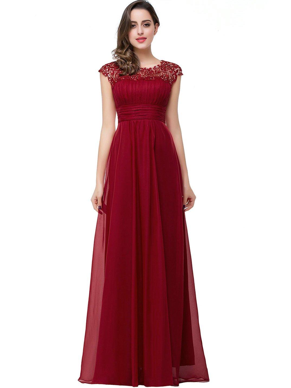 Babyonlinedress Vestido largo de fiesta para bodas vestido ligero estilo elegante trapecio y A line cuello