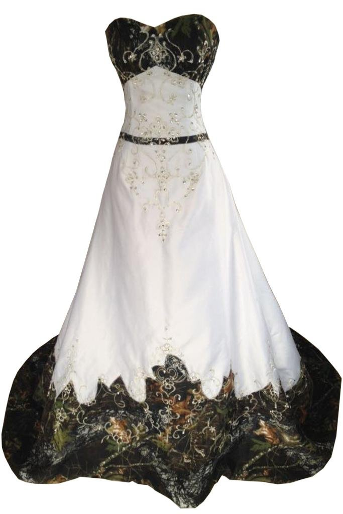 MILANO BRIDE Inexpensive Camo Wedding Dress Prom Gown Strapless Embroidery-8-Camo&Ivory