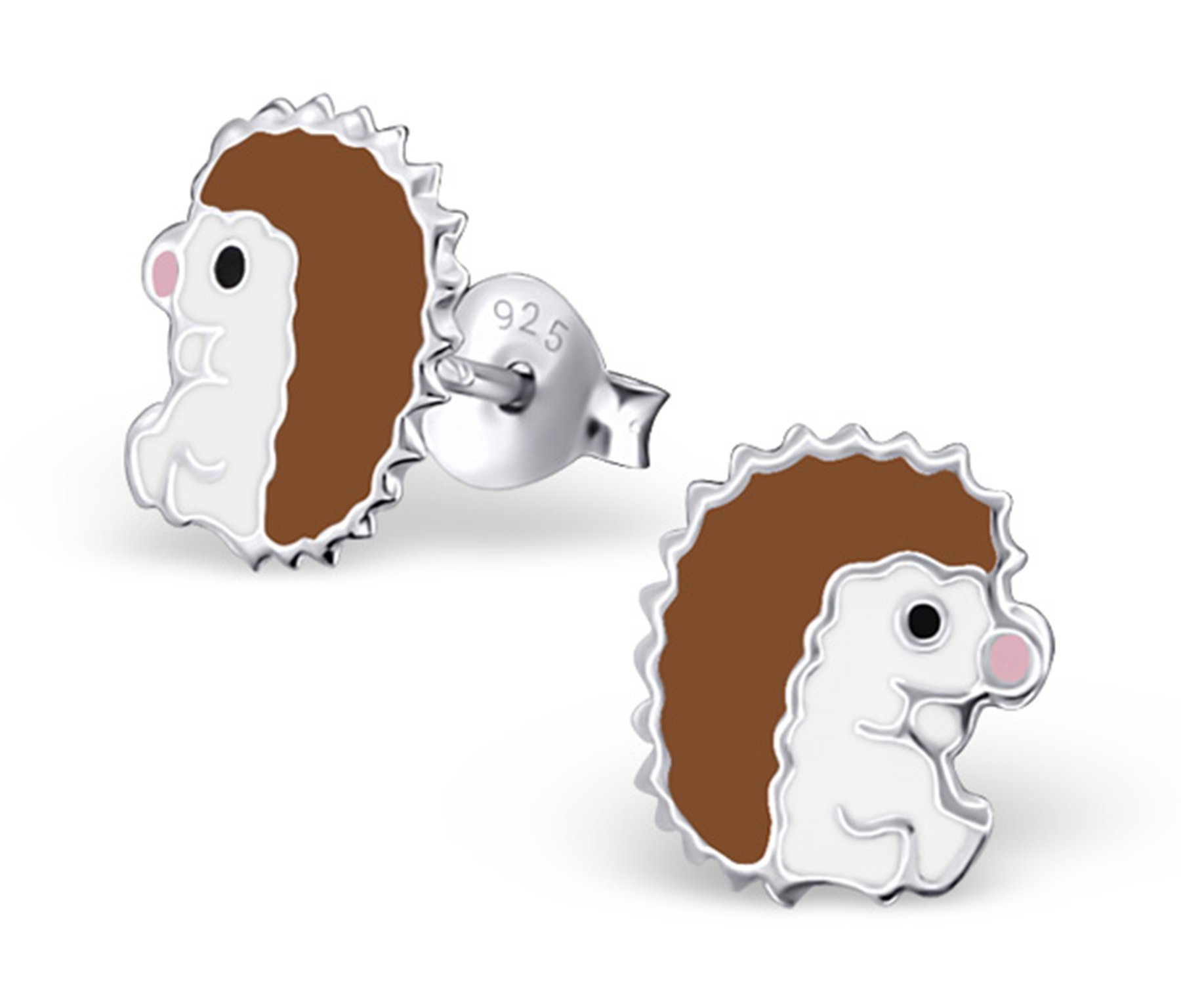 Best Wing Jewelry .925 Sterling Silver''Hedgehog'' Stud Earrings for Children and Teens