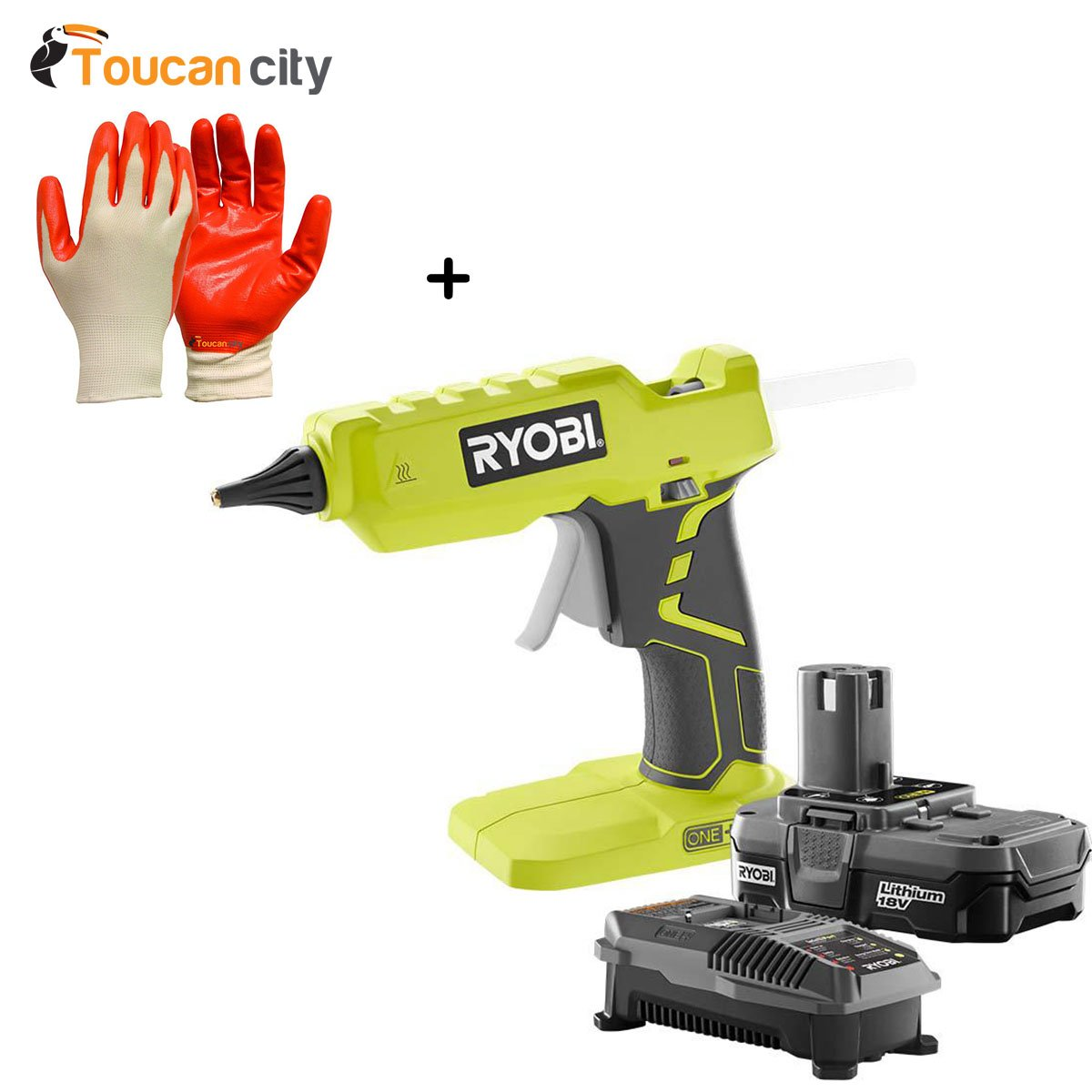 Ryobi 18-Volt ONE+ Lithium-Ion Full Size Glue Gun Kit with One 1.3Ah Battery and Charger P1906N and Toucan City Nitrile Dip Gloves(5-Pack)