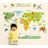 Ufengke® Bande Dessinée Carte Du Monde Animal Mignon Stickers Muraux, La Chambre des Enfants Pépinière Autocollants Amovibles